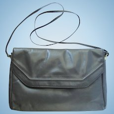 Vintage Leather Handbag with Cross-Body Strap in Medium Grey