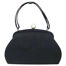 Vintage 1940's Black Handbag with Decorative White Lucite Clasp