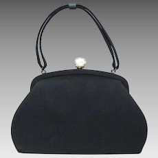 Vintage 1940's Black Handbag with Decorative White Lucite Clasp