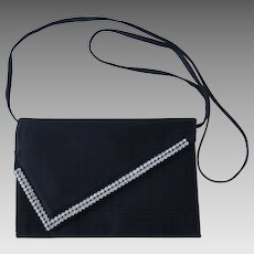 Vintage Black Clutch with Rhinestone Accents and Convertible Strap by MM Morris Moskowitz