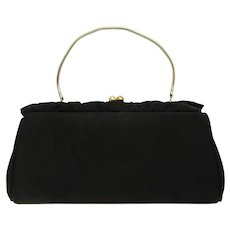 Vintage 1950's Black Corde Clutch with Ruffled Accents and Convertible Chain