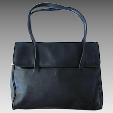 Vintage Black Leather I.Magnin Satchel with Multiple Pockets – Large