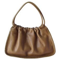 Vintage Hobo Bag in Caramel Colored Leather with Laced Edges