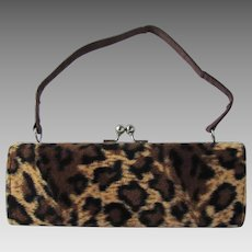 Vintage Box Handbag with Faux Cheetah Print – Baguette Shape