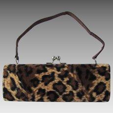 Vintage Box Handbag with Faux Cheetah Print – Baguette Shape