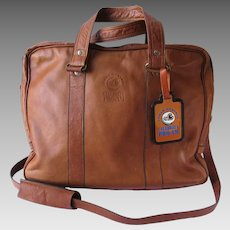 Vintage Leather Satchel in Tawny Color with Convertible Shoulder Strap