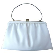 Vintage 1960's White Clutch with Convertible Chain