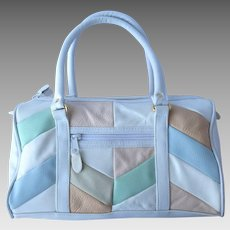 Vintage Handbag in White with Patchwork Pattern in Four Pastel Colors