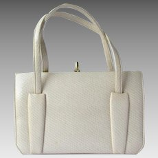 Vintage 1960's Handbag in Ecru Marshmallow Vinyl with Faux Exotic Leather