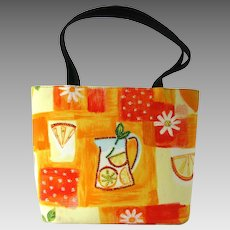 Vintage Handbag in Orange and Yellow Fabric with Rhinestone Accents