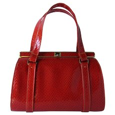 Vintage 1960's Red Handbag of Embossed Faux Reptile by Lennox