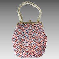 Vintage 1960's Handbag with Red, White, and Blue Flowers in Beaded Design