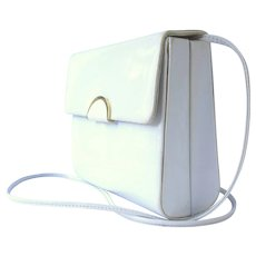 Vintage 1970's Box Purse in White Patent with Convertible Strap