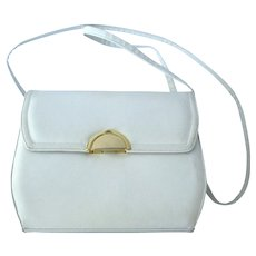 Vintage 1970's White Shoulder Handbag with Unique Clasp by Frenchy of California