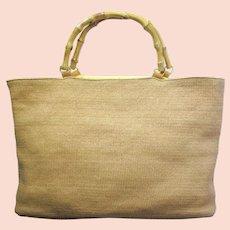 Vintage Wicker Handbag with Bamboo Handles in Tote Shape