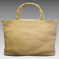 Vintage Wicker Handbag with Bamboo Handles in Tote Shape