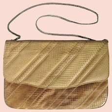 Vintage 1970's Varon Snakeskin Leather Clutch with Convertible Chain.