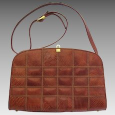 Vintage Handbag With Patchwork Of Faux Snakeskin In Caramel And Honey Colors