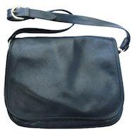 Vintage Messenger Bag in Navy Blue Leather - Adjustable Shoulder Strap