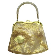 Vintage 1960's Translucent Handbag with Golden Swirls and Leaves by JR USA