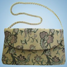 Vintage 1960's Tapestry Clutch with Floral Print and Convertible Chain by Lewis