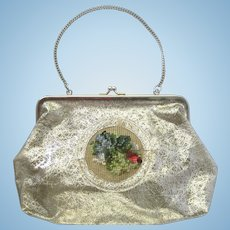 Vintage 1960's Handbag of Translucent Vinyl with Silvery Design and Needlepoint Accent