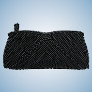 Vintage Midcentury Black Beaded Clutch – Made in Japan – Small Size
