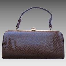 af0830712a80 Vintage 1960 s Handbag of Faux Lizard in Baguette Style