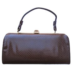 Vintage 1960's Handbag of Faux Lizard in Baguette Style
