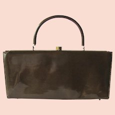 Vintage 1950's Handbag in Taupe Vinyl with Structured Shape