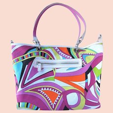 Vintage Handbag with Bright Colors and Abstract Design