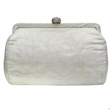 Vintage Silver Lame Convertible Clutch with Rhinestone Clasp
