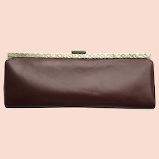 Vintage 1950's Leather Clutch - Baguette Style in Deep Auburn Color