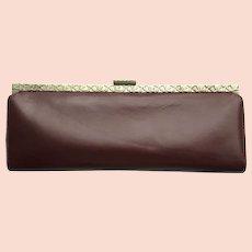 Vintage 1950's Leather Clutch - Baguette Style in Deep Auburn Color