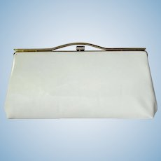 Vintage 1960's White Patent Clutch with Bright Green Lining