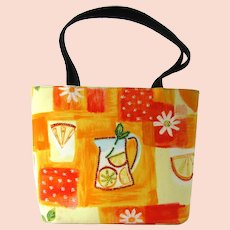 Vintage Handbag with Oranges Print and Rhinestone Accents