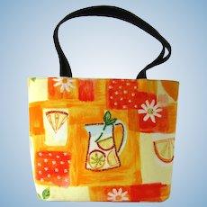 Vintage Handbag with Oranges Print and Rhinestone Accents