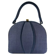 Vintage 1950's Handbag in Navy Blue Textured Vinyl by Markay Bags