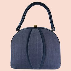 Vintage 1950's Handbag in Navy Blue Textured Vinyl by Markay Bags