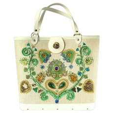 Vintage 1960's Handbag with Fanciful Floral Design and Sparkling Accents