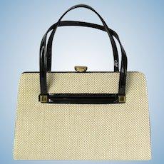 Vintage 1950's Convertible Rambler Handbag in Wheat and Black by Kadin