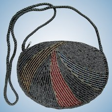 Vintage Beaded Evening Bag in Deep Grey with Swirling Design