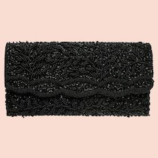Vintage Black Clutch with Beaded Floral Design and Sequin Accents