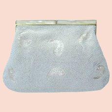 Vintage 1960's Beaded Clutch in White with Iridescent Beads – Made in Japan