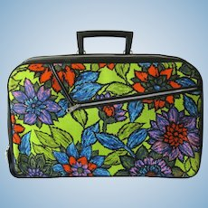 Vintage 1960's Satchel with Flower Design and Bright Colors