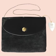 Vintage Black Handbag in Suede Leather and Black Patent by Lewis – Convertible