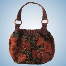 Vintage Tapestry Hobo Bag with Floral Print in Shades of Russet and Burnt Orange