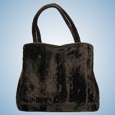Vintage 1950's Brown Velvet Handbag with Rhinestone Clasp by HL – Harry Levine
