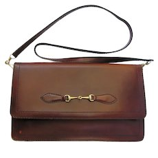Vintage Leather Clutch in Auburn Color with Convertible Shoulder Strap