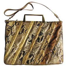 Vintage Python Leather Handbag in Briefcase Style with Convertible Strap by Varon